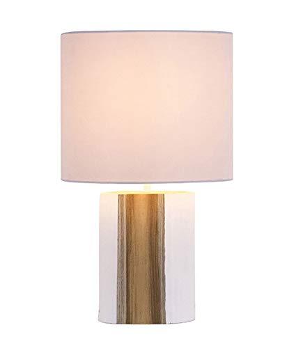Lámpara de mesa Zapopa blanca y madera natural 24 x 39 cm 1