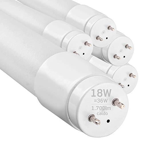 5x Tubi LED 120cm G13 T8 18W 1700 lumen - Luce Bianco Caldo 3000K - Fascio Luminoso 160° - Sostituzione Neon