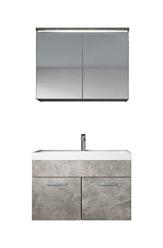 Badezimmer Badmöbel Set Paso 02 80 cm Waschbecken Beton (Grau) - Unterschrank Schrank Waschbecken Spiegelschrank Schrank