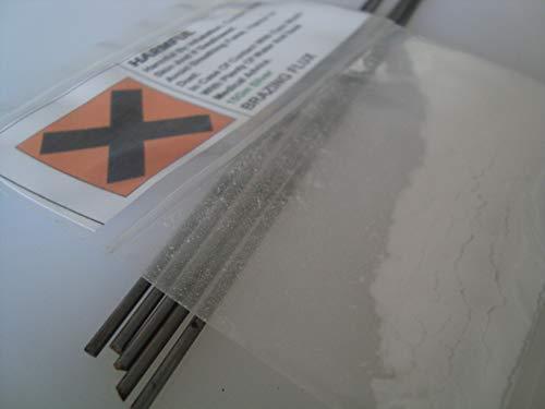 Spezielles Silberlegierung-Kupfer/Phosphor/Zinn (CuPSn) 2,0 x 250 mm – 5 Stangen plus 10 g Flux-Pulver