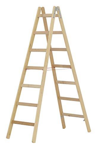 HYMER 7141014 Holz-Sprossenstehleiter, 2x7 Sprossen
