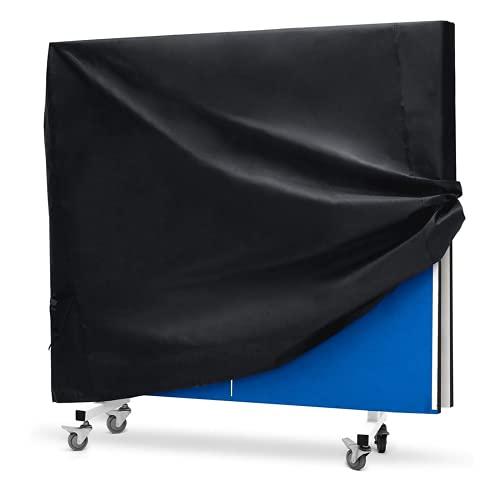 Trintion Tischtennisplatte Abdeckung Wasserdicht, Tischtennisabdeckung, UV-Beständiges Schutzhülle Tischtennisplatte, Schwerlast Reißfest 210D Oxford Gewebe Schutzhülle (160 * 90 * 145cm) Schwarz