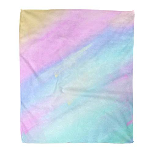 DZGlobal Throw Blanket Colorful Bright Watercolor Striped Wet Brush Paint Stroke Aquarelle Abstract 60x80 Inches Warm Fuzzy Soft Blanket for Bed Sofa 60' X 80'