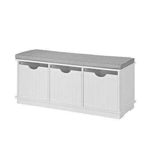 SoBuy® Scarpiera da Ingresso, panchina con Cuscino e cestini,Bianco, FSR30-W,IT