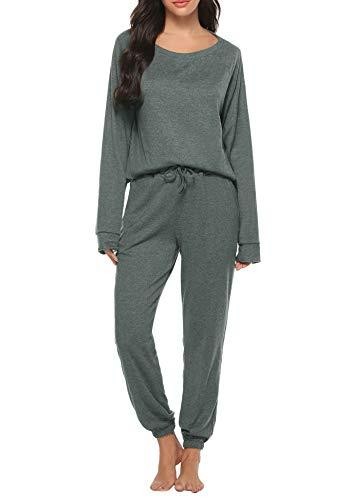 Hawiton Pijamas para Mujer Invierno,Mangas Larga Calentito Conjunto de Pijama Dos Piezas,Ropa de Dormir de Estampados de Tie Dye,Talla Grande