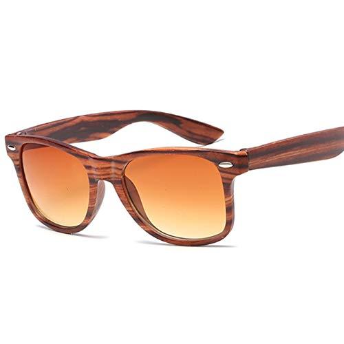 BAYSU Gafas de Sol Moda Square Gafas de Sol Mujeres Diseñador de Lujo Hombre de Lujo/Mujeres Negro Gafas de Sol Hombre Mujer Clásico Vintage Imitación Grano de Madera Gafas de Sol