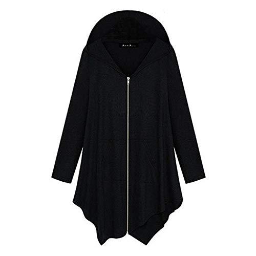 AFFGEQA Damen lässig einfarbig unregelmäßig mittellang locker Kapuze Reißverschluss Mantel Tops Bluse