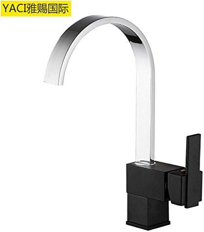 Modern kitchen faucet kitchen faucet shower copper black faucet hot and cold single unit 1 (color   Cf6006a)