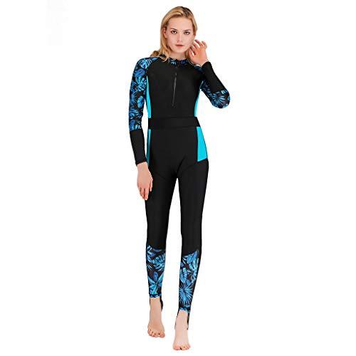 SUDADY Muta Surf Donna Wetsuit Tuta Termica Mare Monopezzi Sub Immersione Snorkeling Scubacquea Anti UV Rash Guard Spiaggia Estivi Kayak Windsurf Acquatici Sportivi Abbigliamento/Blu,L