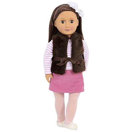 Our Generation BD31022Z Original Puppe, Sienna, 46 cm große Stehpuppe, lange braune Haare, braune Augen, Schlafaugen, elegantes Outfit, 9 teiliges-Set