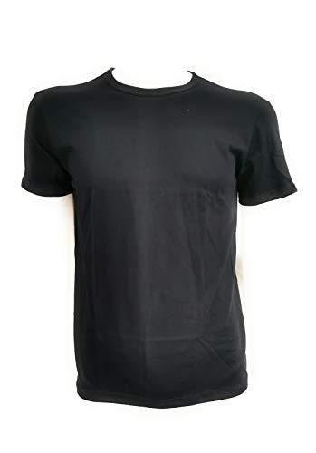 Carrera Maglietta Girocollo Intima Uomo 100% Cotone Tshirt Uomo Manica Corta Confezione da 3 Pezzi Maglia Intima Uomo Ultraleggera Aderente Invisibile Made in Italia (7/XXL, Nero)