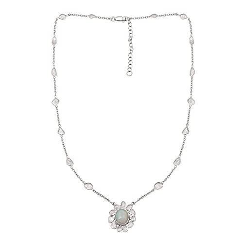 2.10 CTW Polki diamante natural Collar con colgante de ópalo etíope, plata de ley 925, chapado en platino, joyería de diamantes con rebanada étnica