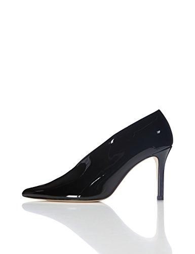 Find. Zapatos De Charol Y Empeine Alto Para Mujer, Negro (Black), 39 EU