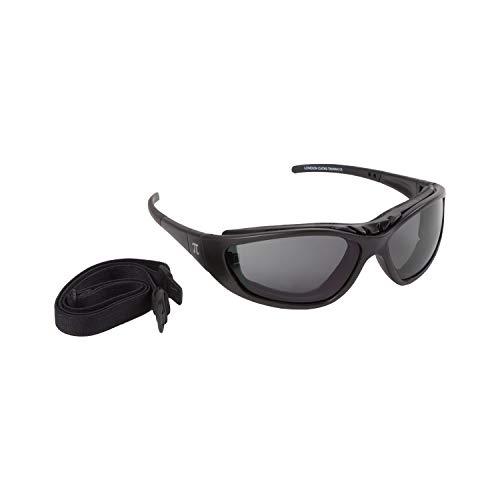 PiWear® London Brille mit Sehstärke verglasbar für Brillenträger Motorradbrille schwarz dunkel getönt Dioptrien Damen Herren Antibeschlag Rad MTB ATV Quad Ski