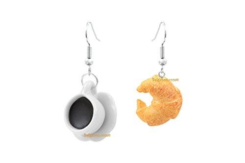 Lady-Charms - Handgefertigt in Frankreich - Schlemmerische Ohrringe Kaffee und Hörnchen