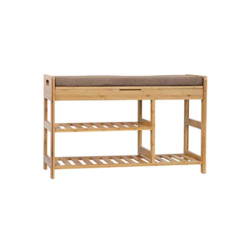 C&AHOME Shoe Rack Bench, Entryway 3-Tier Shoe Organizer, Max Load 270 LBS, Bamboo Storage Shelf with Cushion for Boots, Modern Stool for Bedroom, 31.5' L x 11.6' W x 19.3' H Natural BXDN80L