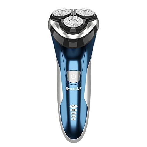 SweetLF Afeitadora Eléctrica Rotativa Uso en Húmedo y Seco para Hombre con Cortapatillas Desplegable Máquina de Afeitar Recargable Afeitadora con Cable USB Android de Carga