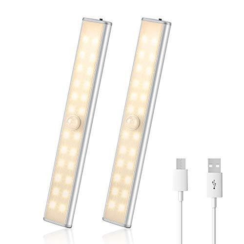 AGPTEK LED Schrank Bewegungssensor Licht, USB Kleiderschrank Lampen, Unterbauleiste Beleuchtung mit Batterie, Nachtlampe mit 3 Helligkeitsstufen für Kinderzimmer und Küche, Flurlicht, 2er Set