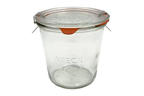 WECK - Barattolo da 580 ml, con coperchio da 100 mm, guarnizioni e clip