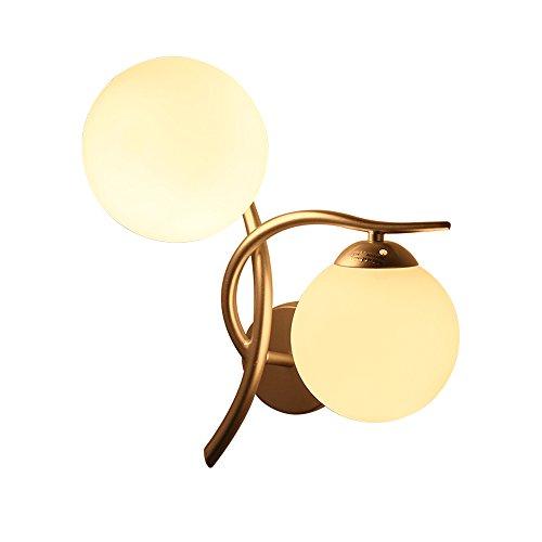 ZHANGYN Candelabros de pared Lámpara de hierro de pared de vidrio moderna Simple Gold/Silver doble cabeza alta luminosidad Nórdico Habitación Sala de noche Pasarela E27 Arte Rama ligero de la pared
