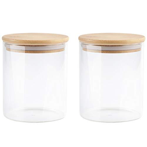 Hemoton - 2 taniche in vetro trasparente, 250 ml, con coperchi in legno ermetici, contenitore per chicchi di caffè, per la cucina, il tè in sfusa e la frutta