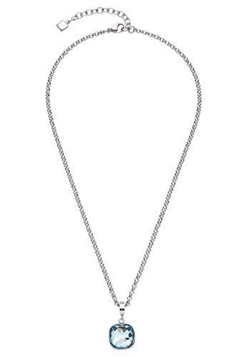 Jewels by Leonardo Damen-Halskette Cuscino, Edelstahl mit facettiertem blauem Glasstein, Clip & Mix System, Länge 420 mm, 016571