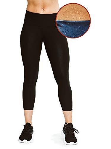 Sweat Shaper Women's Leggings, Compression Slimming Leggings, High Waist Sauna Pants, Yoga Leggings, Thermo Sweat Sauna Capris (Black, 3X-Large)