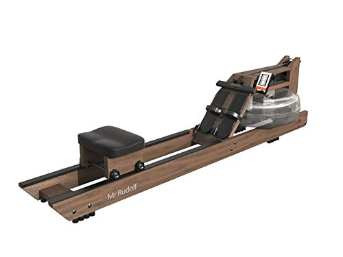 Mr. Rudolf Water Rowing Machines for Home Use,Black Walnut Wood Rower with Bluetooth Monitor - Indoor FitnessExercise Equipment(Included an Electric Pump and A Dust Cover)