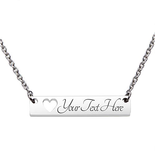 Fanery Sue Personalized Custom Engraved Name 316L Stainless Steel Horizontal Bar Necklace(Silver)