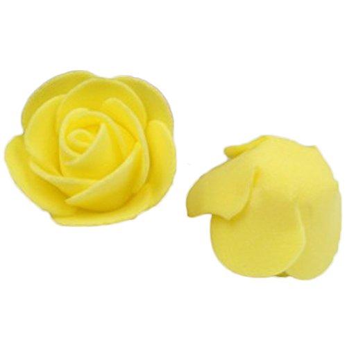 Dosige 50 Stück Foamrosen Schaumrosen Künstliche Rosen Blume Brautstrauß für Hochzeit Party Haus Dekor 3-3.5cm Gelb