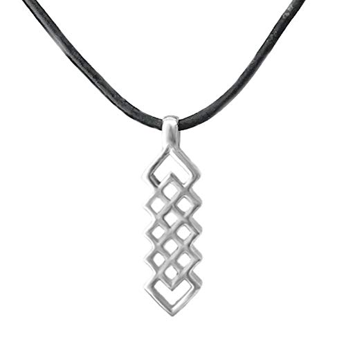 Loralyn Designs Mens Stainless Steel Celtic Dagger Necklace on Black Leather Cord (20 Inches)