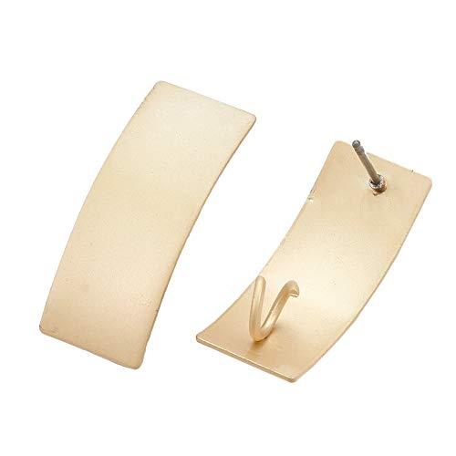 CHGCRAFT 100 Piezas Color Dorado Mate Rectángulo Pendiente Stud con Aro Y Pasador de Acero Luz de Hierro Dorado Pendiente de Hierro Pendientes para Joyería Pendiente Perno de Fijación Agujero de 4 mm
