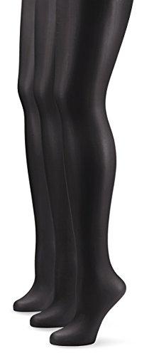 Nur Die Damen Strumpfhose 725949/3er Pack Transparent, 15 DEN, Gr.  L (44-48), schwarz (schwarz 094)