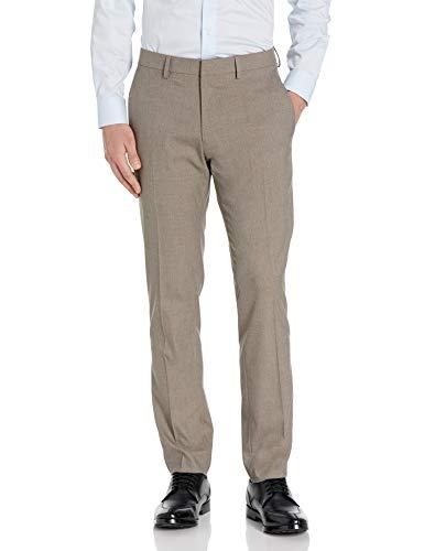 Kenneth Cole REACTION Men's Stretch Heather Herringbone Slim Fit Flat Front Flex Waistband Dress Pant, Oatmeal, 32 X 29