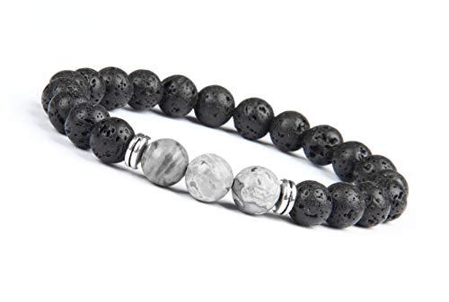 Good.Designs ® Energiearmband aus Lavastein Naturperlen   Chakra Armband mit marmorierten Perlen (Grau) graue Steinfarben Perlenarmband graueperlen Damenarmband Herrenarmband Lavaperlen