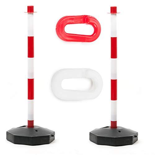 2X Absperrpfosten Kettenständer Poller Kettenpfosten Rot-weiß inkl. 2 Verbindungsgliedern