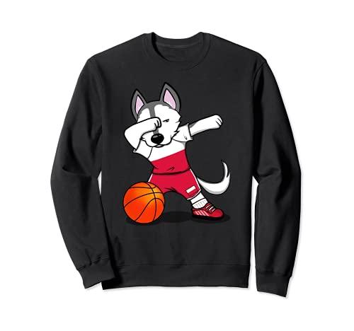 面白いハスキー犬ポーランドバスケットボールファン-ポーランドの旗スポーツ愛好家 Poland Basketball トレーナー