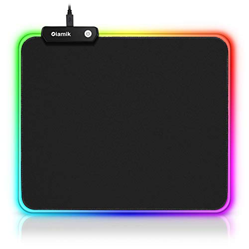 RGB Mouse Pad Gaming Oiamik  Non-Slip Rubber Base Gaming Mousepad Small with 12 Lighting Modes LED Mouse Pads for Home Office Laptop Computer Black 250 X 300mm / 11.8 X 9.8 Inches