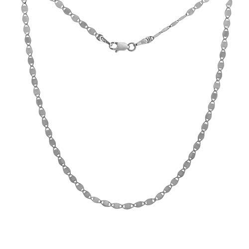 Pulsera de cadena de oro blanco de 14 quilates de 2,7 mm con cierre de mosquetón de 7,50 pulgadas de joyería regalos para mujeres
