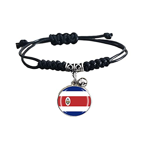 Pulsera trenzada de la bandera de Costa Rica con cadena de nailon ajustable, pulsera de cristal, pulsera hecha a mano para hombre y mujer