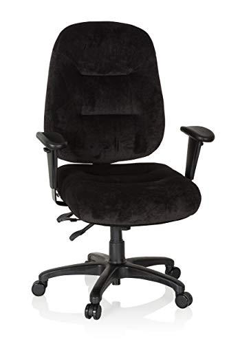 hjh OFFICE 702303 Profi Bürostuhl Zenit XXL Stoff Schwarz ergonomischer Drehstuhl bis 150kg belastbar im Velours-Design
