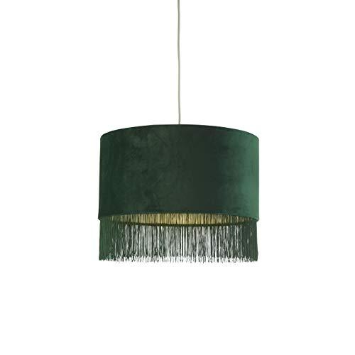 Lighting Collection Lampenschirm aus Samt mit grünen Fransen und Quasten.