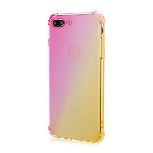 Oihxse Cristal Coque Compatible pour OnePlus 7T Pro Case Dégradé Transparente Coussin d'Air Silicone Souple Protection Housse Ultra Mince Antichoc Protection Etui Bumper Cover (Or Rose)
