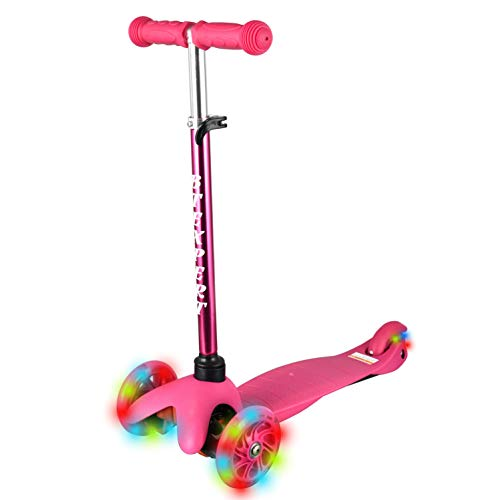BTEXPERT AM5137 Foldable Kids Mini Kick Scooter Pink, T-Bar Height Adjustable Light UP Wheels
