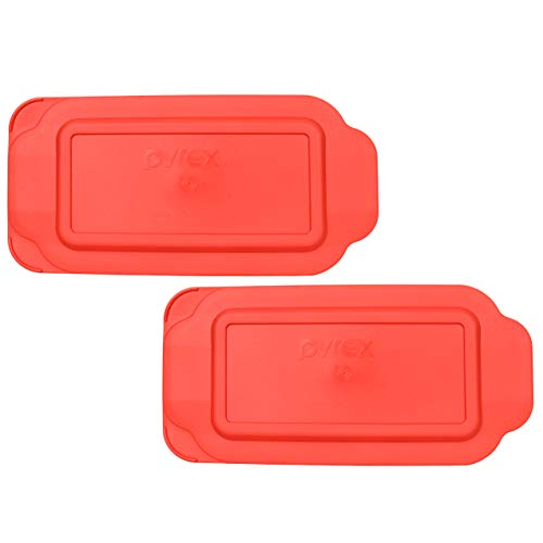 Pyrex 213-PC Red Rectangle Plastic Replacement Lid Cover for Loaf Pan - 2 Pack