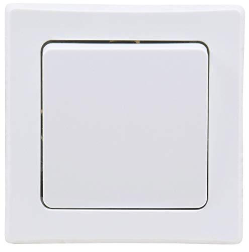 DELPHI Wechsel-Schalter Lichtschalter 230V Unterputz mit 1-fach Rahmen kombinierbar mit Mehrfachrahmen Weiß