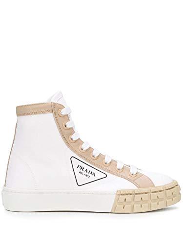 Prada Luxury Fashion Donna 1T941LF03589CF074A Bianco Cotone Hi Top Sneakers | Primavera-Estate 20