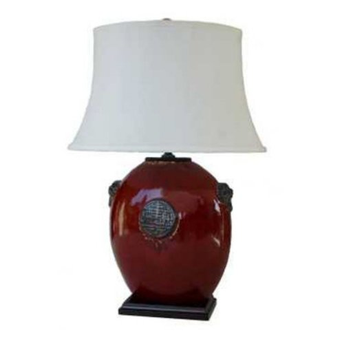 Hot Sale Oriental Furniture Asian Oriental Decor 29-Inch Chinese Red Ceramic Oval Flat Table Lamp with Oval Shade, JCOX-525