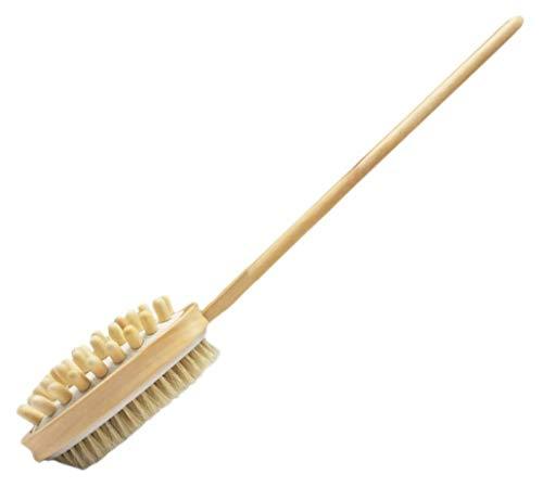 Plus Nao(プラスナオ) ロングボディブラシ からだ用ブラシ 体用ブラシ バスブラシ マッサージブラシ 洗浄 洗体 体洗い お風呂 ロング丈 木 ワンサイズ -