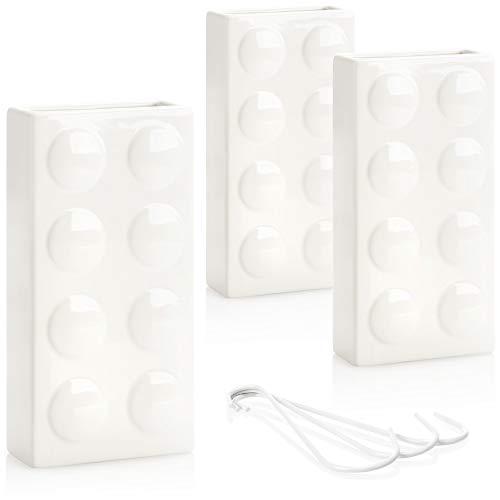 com-four® 3X humidificador de Aire calefacción - radiador humidificador de Aire en Blanco - evaporador de Agua de calefacción de cerámica en diseño dominó (Blanco - Bloque de construcción)